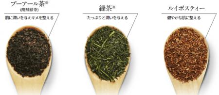 プーアール茶・緑茶・ルイボスティー