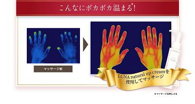 ルーナ ナチュラルアップ クリーム使用前と使用後のサーモグラフィ画像