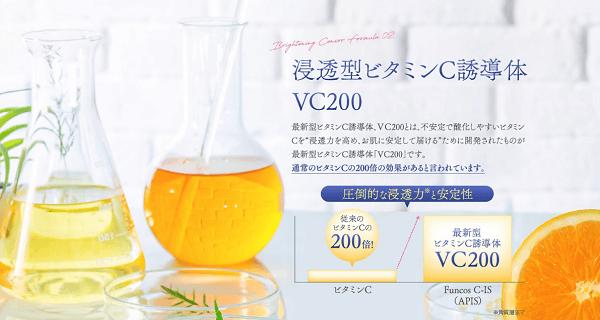 従来のビタミンCの200倍も浸透力が高いVC200